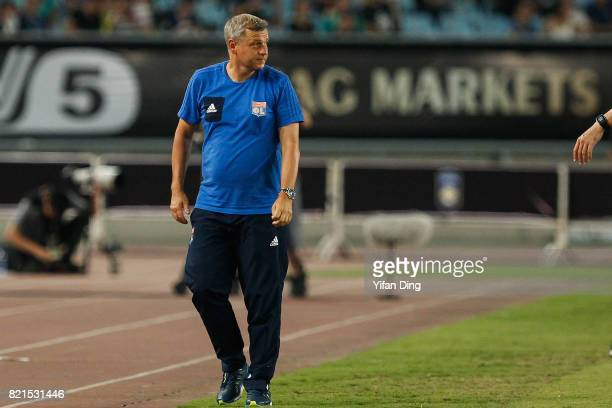 Bruno Genesio of Olympique Lyonnais reacts during the 2017 International Champions Cup football match between FC Internationale v Olympique Lyonnais...