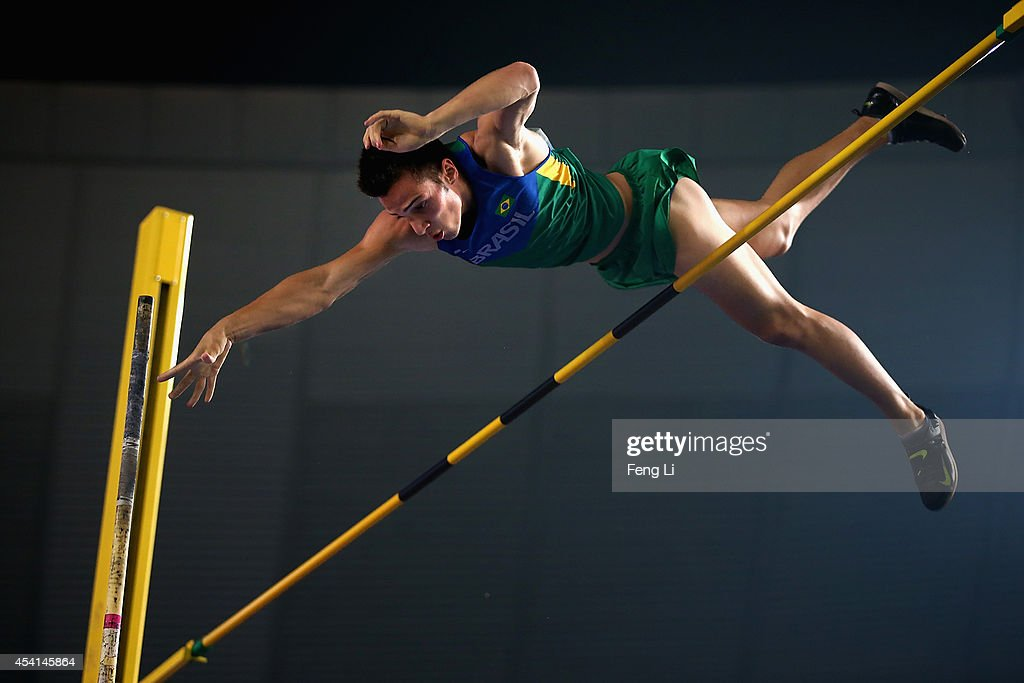 Bruno Germano Spinelli of Brazil competes in the Men's Pole Vault Final during day nine of Nanjing 2014 Summer Youth Olympic Games at the Nanjing Olympic Sports Centre on August 25, 2014 in Nanjing, China.