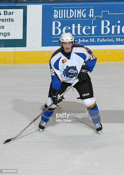 Bruno Gervais of the Bridgeport Sound Tigers controls the puck during the game against the Lowell Lock Monsters at the Arena At Harbor Yard on...