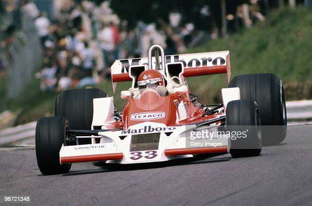 Bruno Giacomelli drives the Marlboro Team Mclaren Ford M26 during the British Grand Prix on 16 July 1978 at the Brands Hatch circuit in Fawkham Great...