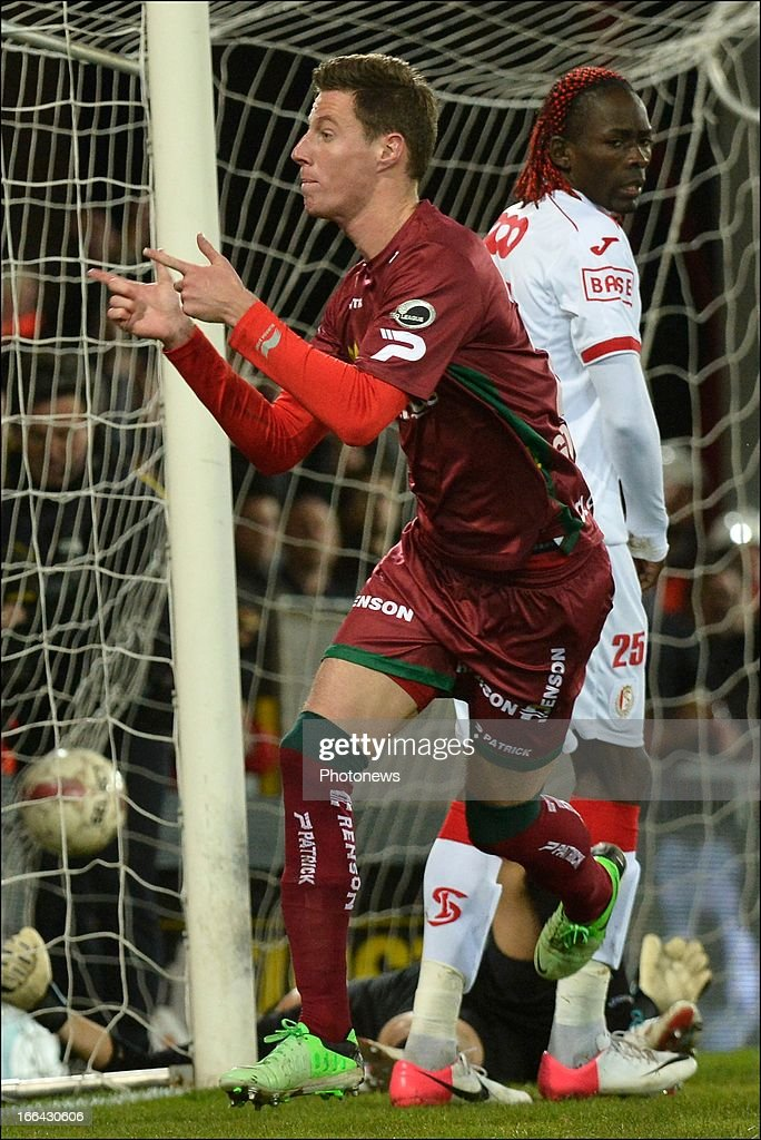 Bruno Godeau of Zulte-Waregem celebrates scoring a goal during the Jupiler League match play-off 1 between Zulte Waregem and Standard de Liege on April 12, 2013 in Waregem, Belgium.