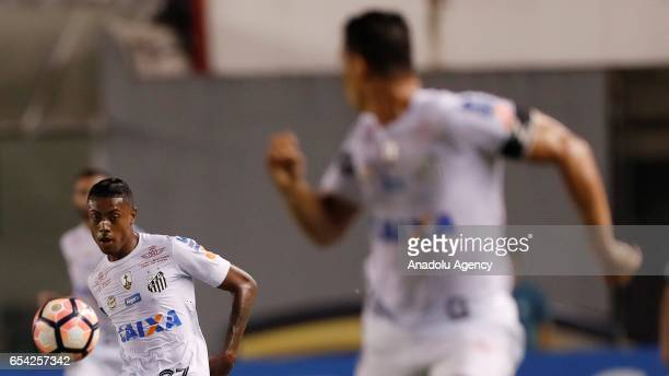 Bruno Henrique of Brazil's Santos controls the ball during a match between Santos and The Strongest as part of Libertadores Cup football match held...