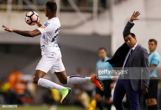 Bruno Henrique of Brazil's Santos in action during a match between Santos and The Strongest as part of Libertadores Cup football match held Urbano...