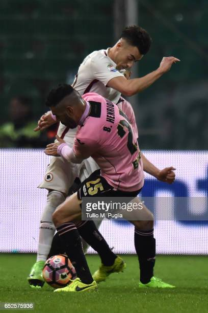 Bruno Henrique of Palermo and Stephan El Shaarawy of Roma compete for the ball during the Serie A match between US Citta di Palermo and AS Roma at...