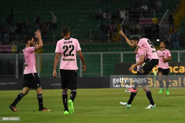 Bruno Henrique of Palermo cis elebrated after scoring his team's second goal during the Serie A match between US Citta di Palermo and Empoli FC at...