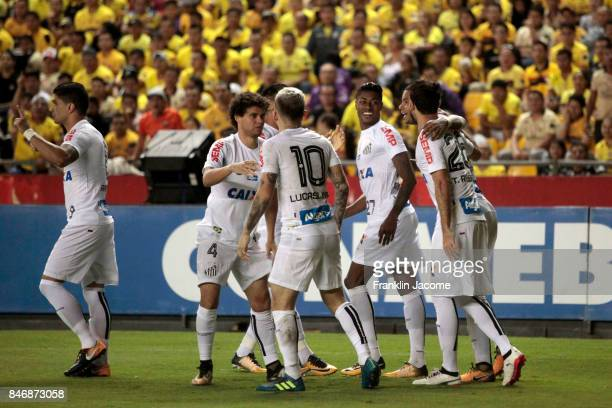 Bruno Henrique of Santos celebrates after scoring the first goal of his team during a first leg match between Barcelona SC and Santos as part of...