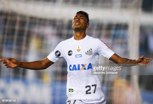 Bruno Henrique of Santos celebrates their first goalduring the match between Santos and Atletico PR for the Copa Bridgestone Libertadores 2017 at...