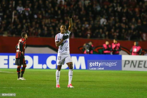 Bruno Henrique of Santos celebrates their second goal during the match Atletico PR v Santos as part of Copa Bridgestone Libertadores 2017 at Vila...