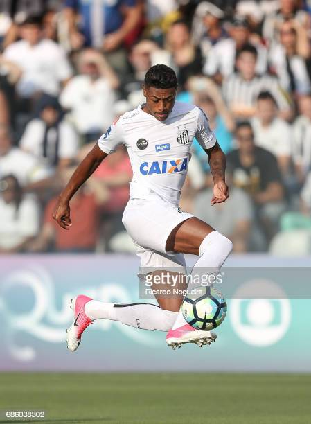 Bruno Henrique of Santos on the ball during a match between Santos and Coritiba as a part of Campeonato Brasileiro 2017 at Vila Belmiro Stadium on...