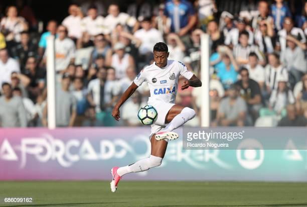 Bruno Henrique of Santos on the ball during a match between Santos and Coritiba as a part of Campeonato Brasileiro 2017 at Vila Belmiro Stadium on...
