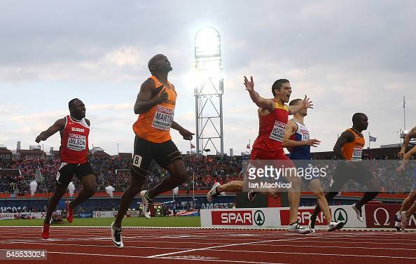Bruno Hortelano of Spain crosses the finish line to win gold in the final of the mens 200m on day three of The 23rd European Athletics Championships...