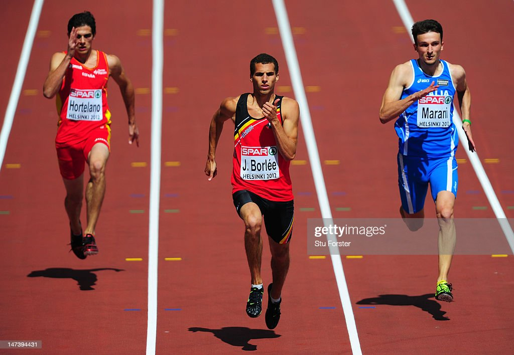 Bruno Hortelano of Spain, Jonathan Borlee of Belgium and Diego Marani of Italy compete in the Men's 200 Metres Heats during day three of the 21st European Athletics Championships at the Olympic Stadium on June 29, 2012 in Helsinki, Finland.