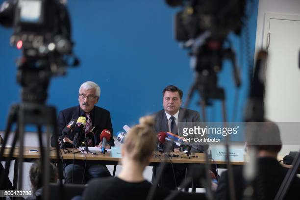 Bruno Jost special investigator commissioned by the Berlin Senate and Berlin's Interior Senator Andreas Geisel give a press conference on October 12...