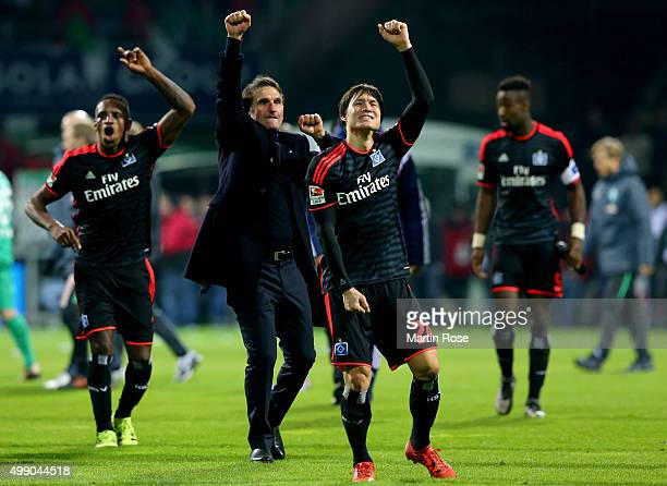 Bruno Labbadia head coach Hamburg celebrate victory after the Bundesliga match between SV Werder Bremen and Hamburger SV at Weserstadion on November...