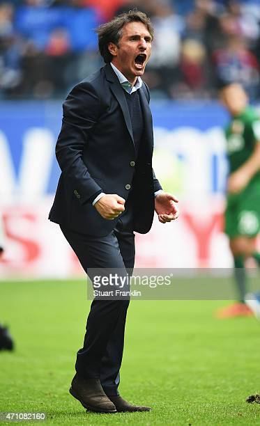 Bruno Labbadia head coach of Hamburg celebrates winning during his home debut as head coach after the Bundeslga match between Hamburger SV and FC...