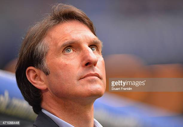 Bruno Labbadia head coach of Hamburg looks on during his home debut as head coach during the Bundeslga match between Hamburger SV and FC Augsburg at...