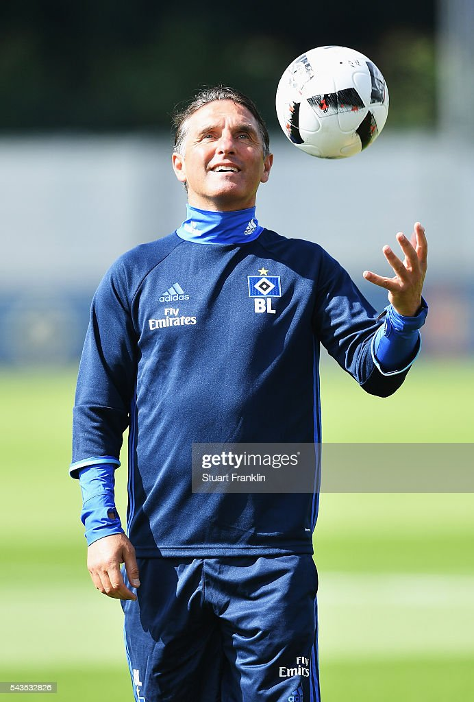 <a gi-track='captionPersonalityLinkClicked' href=/galleries/search?phrase=Bruno+Labbadia&family=editorial&specificpeople=653790 ng-click='$event.stopPropagation()'>Bruno Labbadia</a>, head coach of Hamburger SV looks happy during the first training session of Hamburger SV after the summer break on June 29, 2016 in Hamburg, Germany.