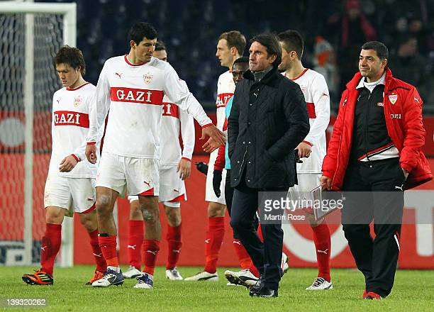 Bruno Labbadia head coach of Stuttgart looks dejected after the Bundesliga match between Hannover 96 and VfB Stuttgart at AWD Arena on February 19...