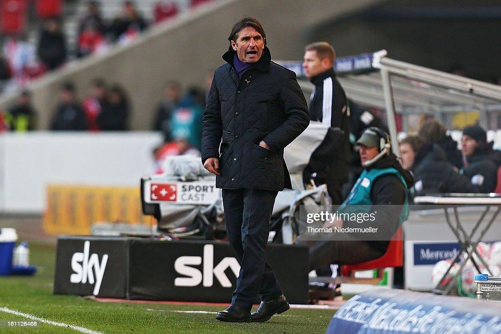 Bruno Labbadia, head coach of Stuttgart reacts during the Bundesliga match between VfB Stuttgart and Werder Bremen at Mercedes-Benz Arena on February 9, 2013 in Stuttgart, Germany.