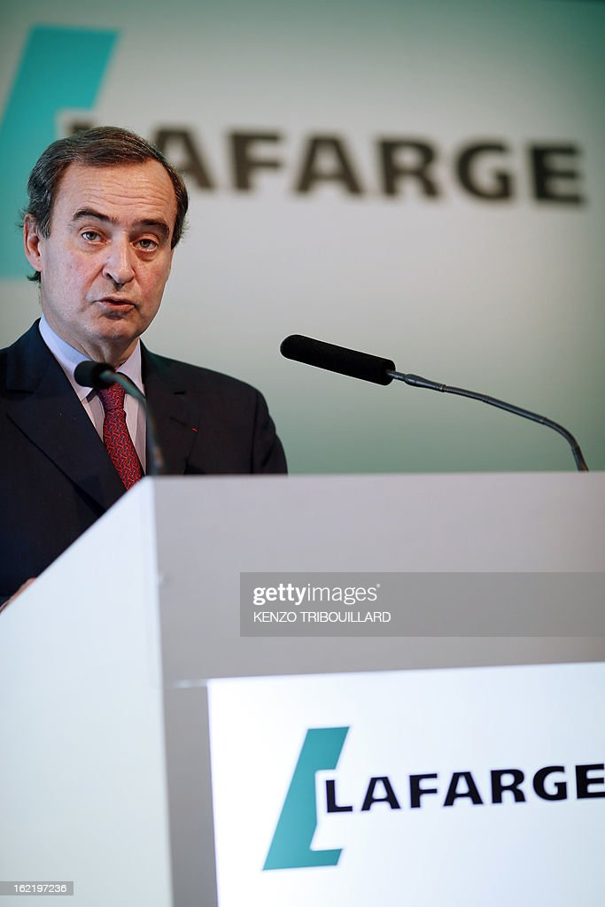 Bruno Lafont, Chief Executive of France's Lafarge, the world's biggest cement maker, speaks as he presents the group's 2012 results in Paris during a press conference on February 20, 2013. AFP PHOTO / KENZO TRIBOUILLARD