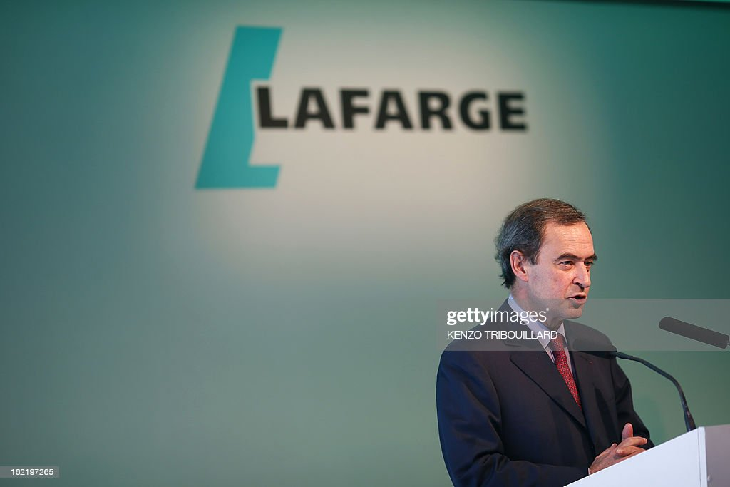 Bruno Lafont, Chief Executive of France's Lafarge, the world's biggest cement maker, speaks as he presents the group's 2012 results in Paris during a press conference on February 20, 2013.