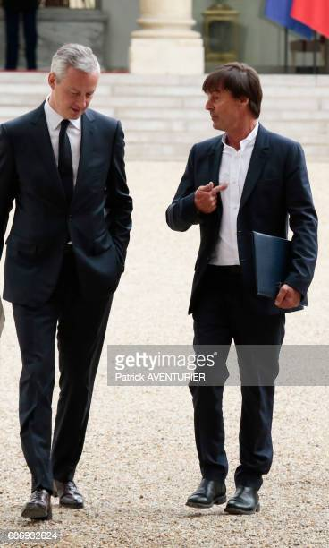 Bruno Le Maire and Nicolas Hulot arrive for a cabinet meeting at the Elysee Palace in Paris France on May 18 2017
