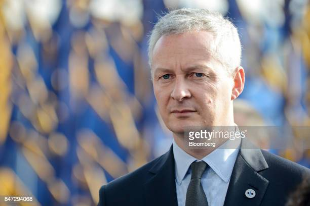 Bruno Le Maire France's finance minister arrives for a Eurogroup meeting in Tallinn Estonia on Friday Sept 15 2017 The monetary union is the core of...