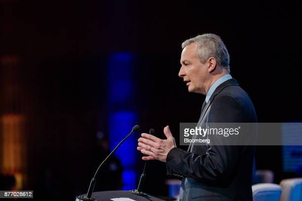 Bruno Le Maire France's finance minister gestures while speaking during the Rendezvous de Bercy economic debate at the French Ministry of Economy in...