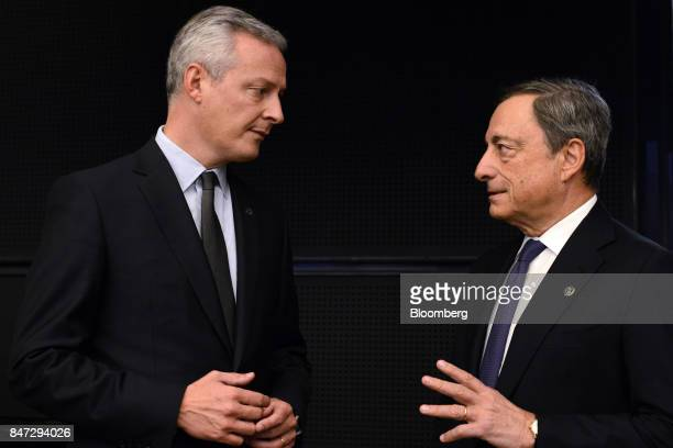 Bruno Le Maire France's finance minister left speaks to Mario Draghi president of the European Central Bank ahead of a Eurogroup meeting in Tallinn...