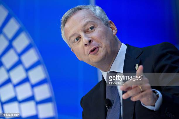 Bruno Le Maire France's finance minister speaks during a debate at the International Monetary Fund and World Bank Group Annual Meetings in Washington...