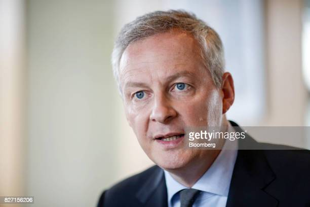 Bruno Le Maire France's finance minister speaks during an interview in Paris France on Friday Aug 4 2017 Le Mairesaid the French governments 10...