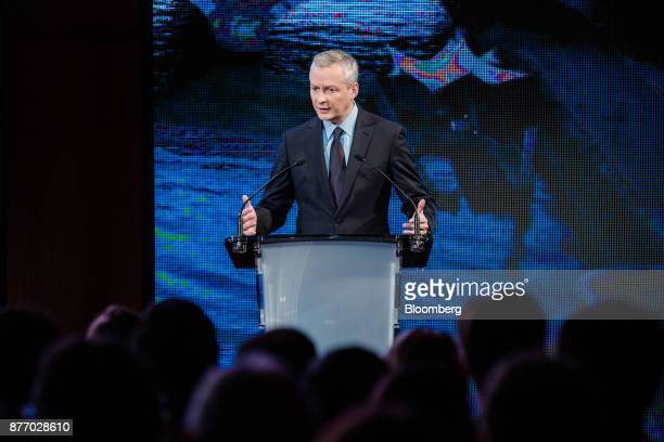 Bruno Le Maire France's finance minister speaks during the Rendezvous de Bercy economic debate at the French Ministry of Economy in Paris France on...