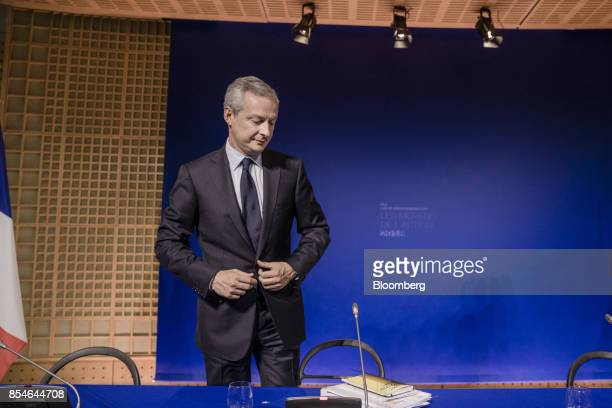Bruno Le Maire France's finance minister stands following a budget briefing at the economy ministry in Paris France on Wednesday Sept 27 2017...