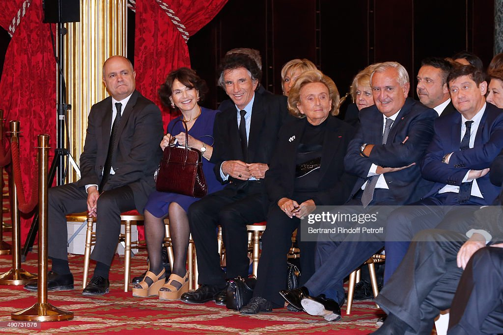 Bruno Le Roux, Monique lang, Jack Lang, Bernadette Chirac and Jean-Pierre Raffarin attend Director of sponsorship LVMH Jean-Paul Claverie receives Insignia of Officer of the Legion of Honor at Elysee Palace on September 30, 2015 in Paris, France.