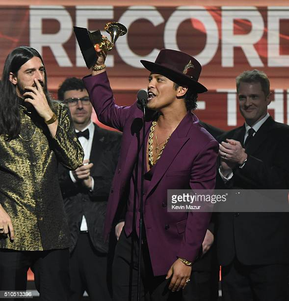 Bruno Mars accepts award onstage during The 58th GRAMMY Awards at Staples Center on February 15 2016 in Los Angeles California