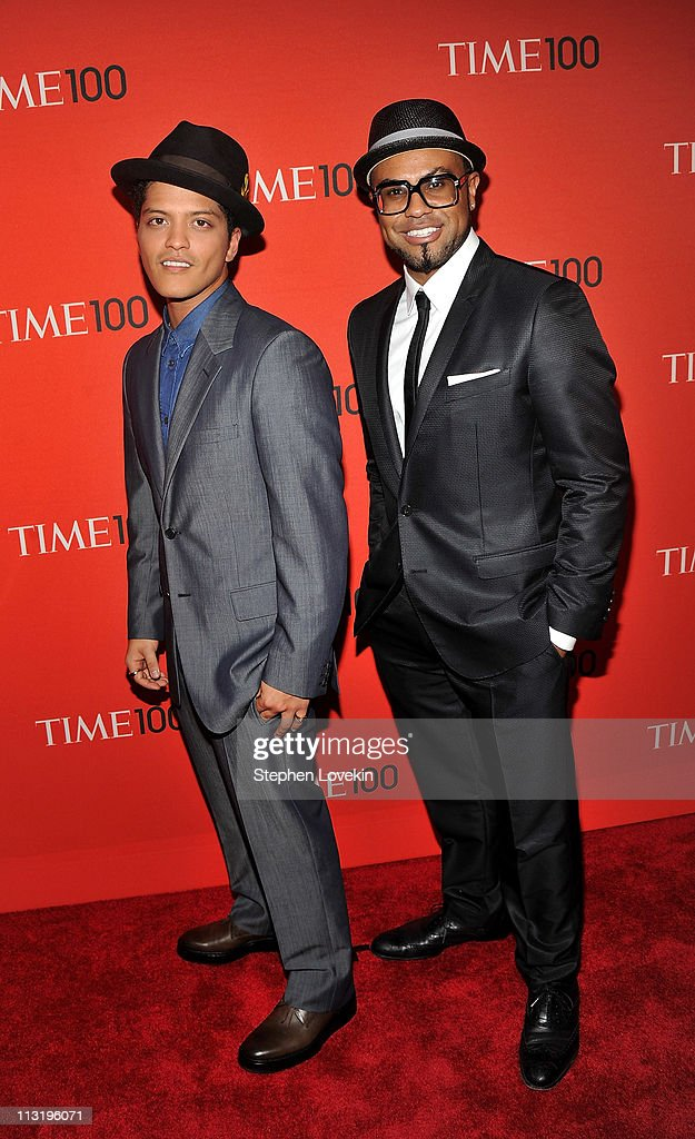 Bruno Mars (L) and songwriter Philip Lawrence attend the TIME 100 Gala, TIME'S 100 Most Influential People In The World at Frederick P. Rose Hall, Jazz at Lincoln Center on April 26, 2011 in New York City.