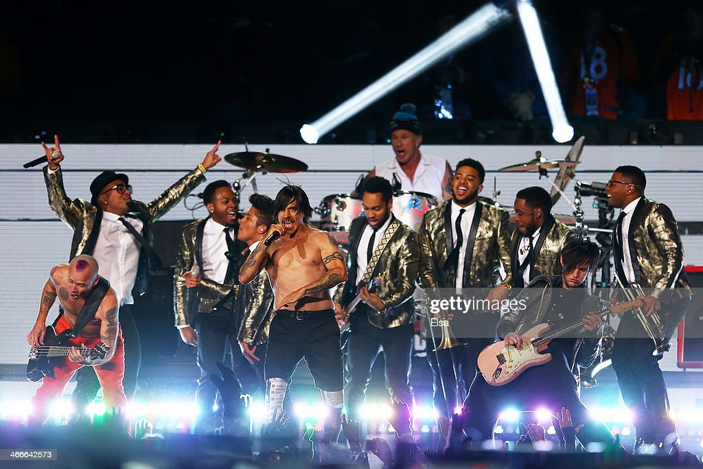 Bruno Mars and the Red Hot Chili Peppers perform during the Pepsi Super Bowl XLVIII Halftime Show at MetLife Stadium on February 2, 2014 in East Rutherford, New Jersey.