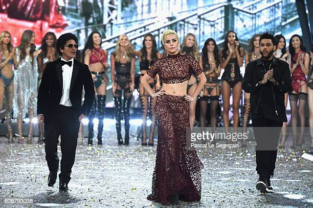 Bruno Mars Lady Gaga and Weeknd walks the runway at the Victoria's Secret Fashion Show on November 30 2016 in Paris France