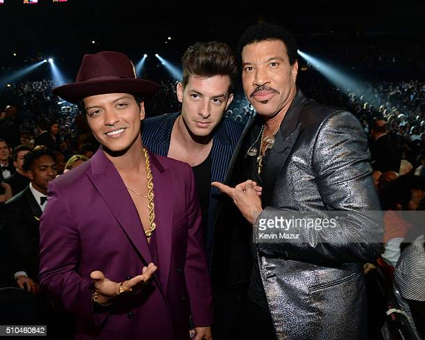 Bruno Mars Mark Ronson and Lionel Richie attend The 58th GRAMMY Awards at Staples Center on February 15 2016 in Los Angeles California