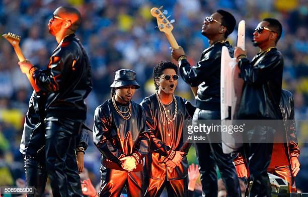 Bruno Mars peforms during the Pepsi Super Bowl 50 Halftime Show at Levi's Stadium on February 7 2016 in Santa Clara California