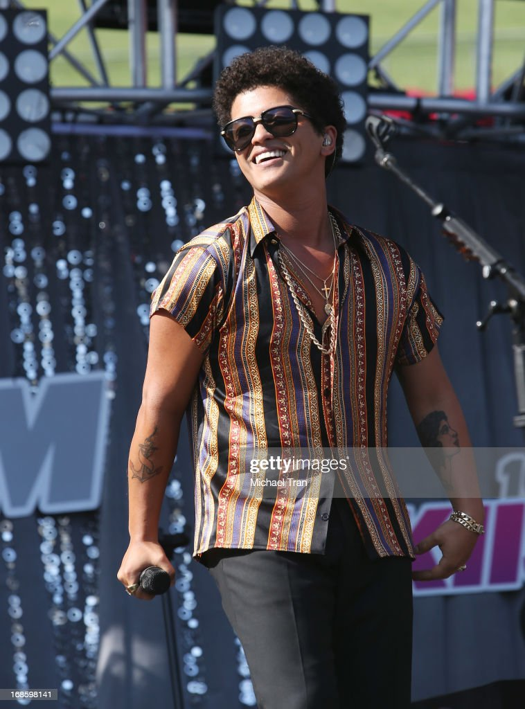Bruno Mars perform onstage during the 2013 KIIS FM's Wango Tango held at The Home Depot Center on May 11, 2013 in Carson, California.