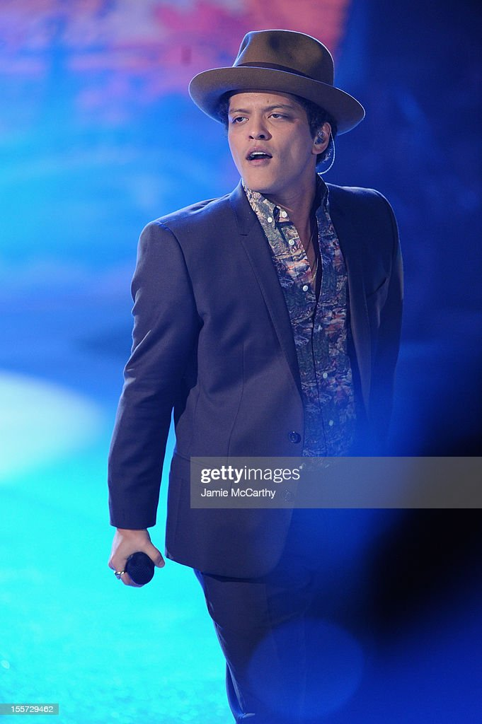 Bruno Mars performs during the 2012 Victoria's Secret Fashion Show at the Lexington Avenue Armory on November 7, 2012 in New York City.