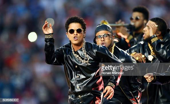 Bruno Mars performs during the Pepsi Super Bowl 50 Halftime Show at Levi's Stadium on February 7 2016 in Santa Clara California