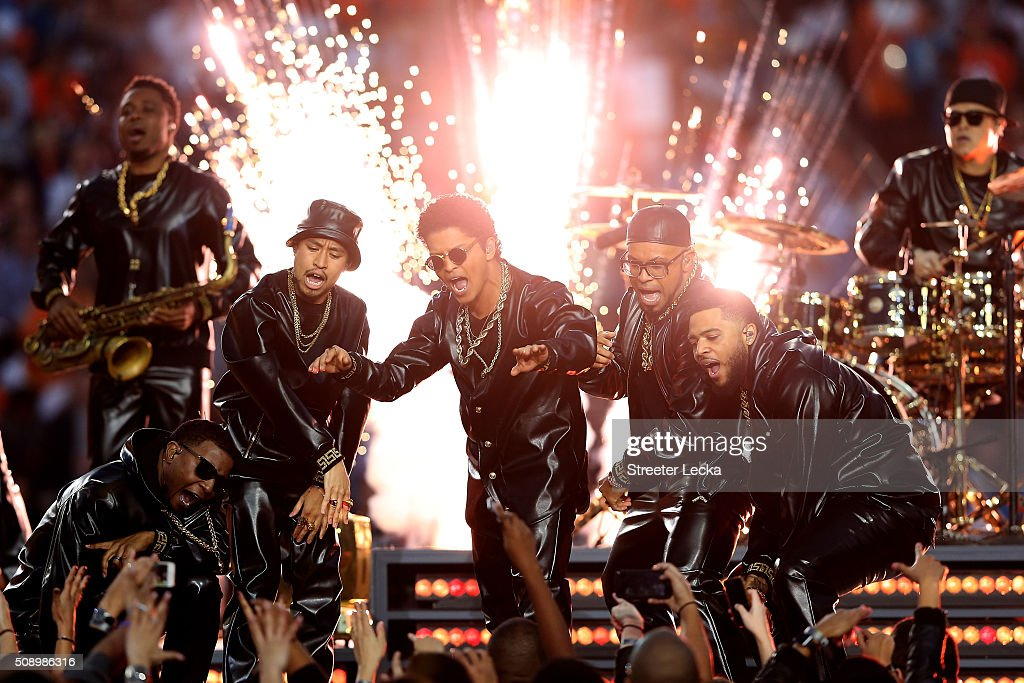 Bruno Mars performs during the Pepsi Super Bowl 50 Halftime Show at Levi's Stadium on February 7 2016 in Santa Clara California