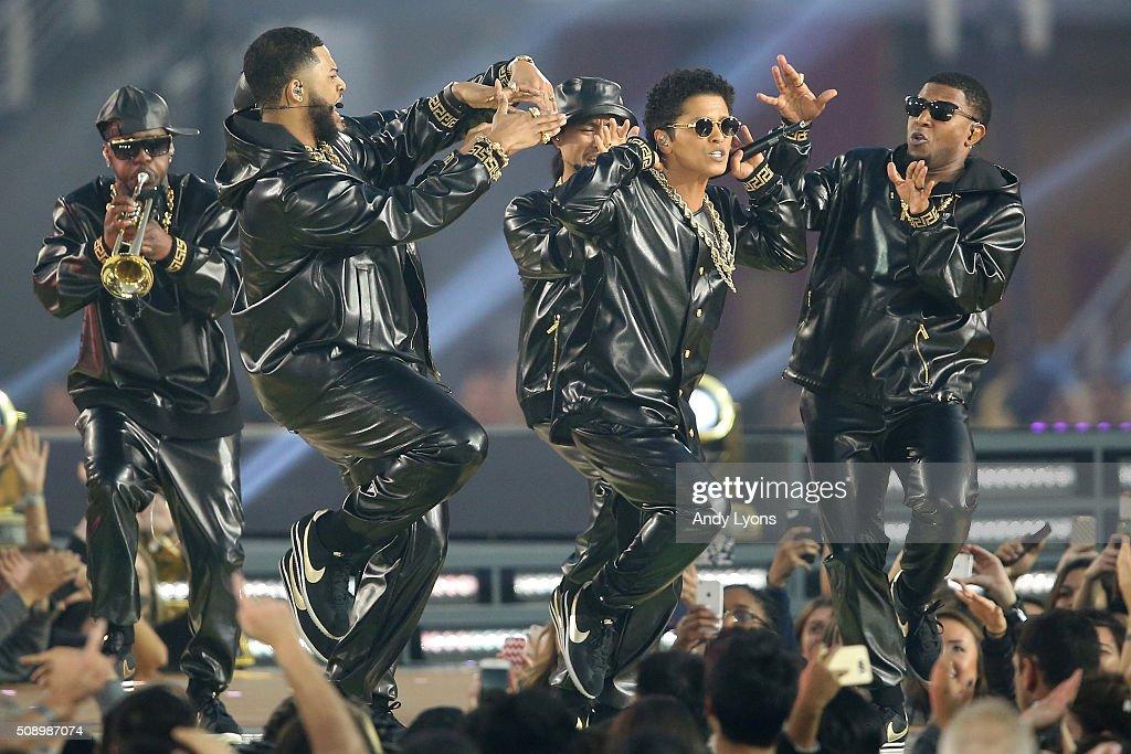 Bruno Mars performs during the Pepsi Super Bowl 50 Halftime Show at Levi's Stadium on February 7, 2016 in Santa Clara, California.