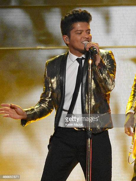 Bruno Mars performs during the Pepsi Super Bowl XLVIII Halftime Show at MetLife Stadium on February 2 2014 in East Rutherford New Jersey