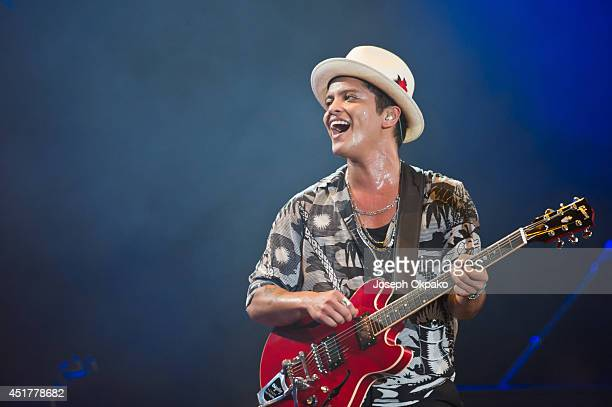 Bruno Mars performs on stage at Wireless Festival at Finsbury Park on July 6 2014 in London United Kingdom