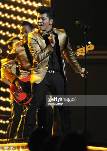 Bruno Mars performs onstage at The 54th Annual GRAMMY Awards at Staples Center on February 12 2012 in Los Angeles California