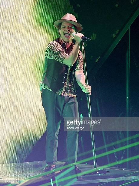 Bruno Mars performs onstage during the 2013 MTV Video Music Awards at the Barclays Center on August 25 2013 in the Brooklyn borough of New York City