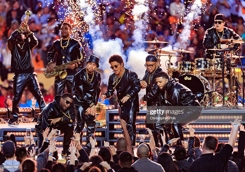 Bruno Mars performs onstage during the Pepsi Super Bowl 50 Halftime Show at Levi's Stadium on February 7 2016 in Santa Clara California